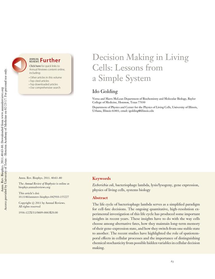 Golding, Annu. Rev. Biophys. 2011 [PDF]